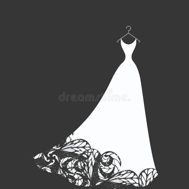 Vestido nupcial em um gancho ilustração royalty free