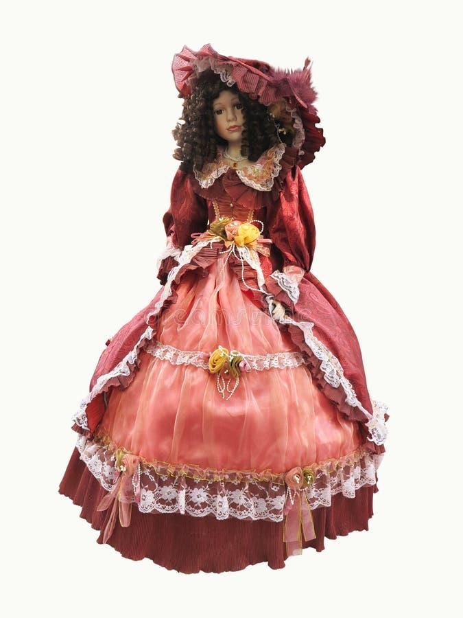 Vestido ornamentado vermelho medieval do vintage abstrato em um isola do mannequine fotografia de stock royalty free