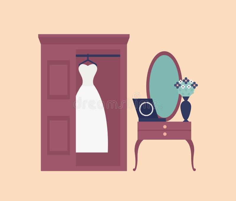 Vestido ou vestido branco elegante de casamento que penduram no vestuário, no espelho da parede e na tabela de molho com grânulos ilustração royalty free