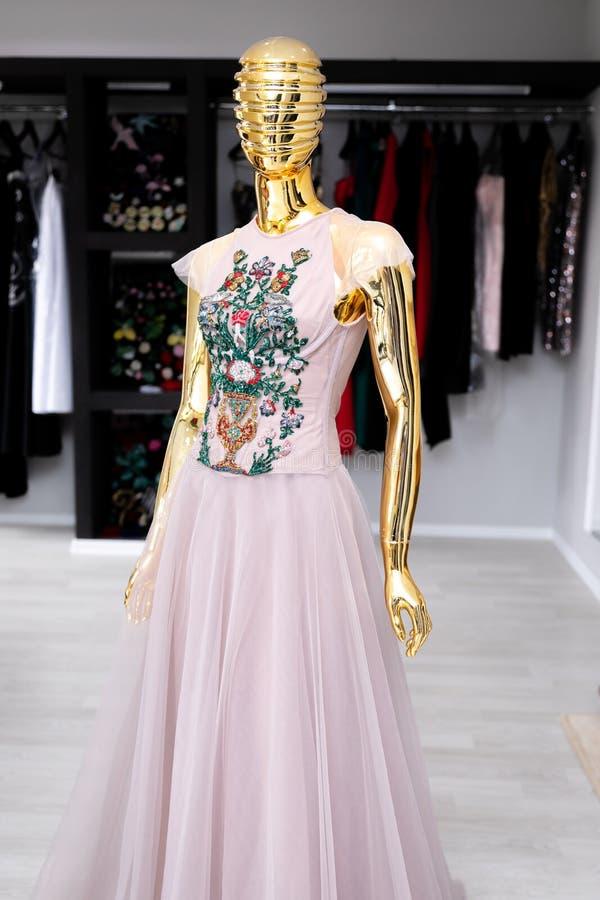 Vestido para mujer, rosa claro de Tulle con un ornamento en un pecho de gotas foto de archivo libre de regalías