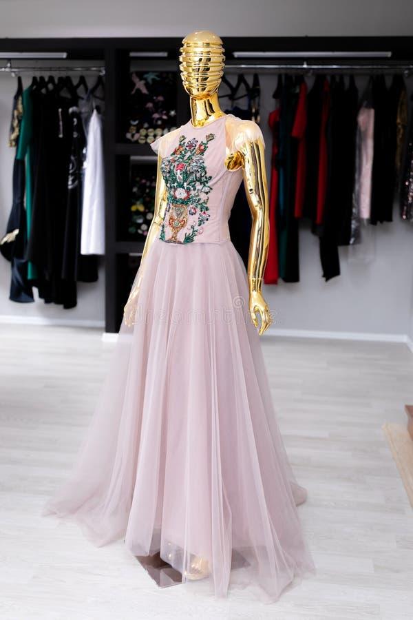 Vestido para mujer, rosa claro de Tulle con un ornamento en un pecho de gotas fotografía de archivo libre de regalías