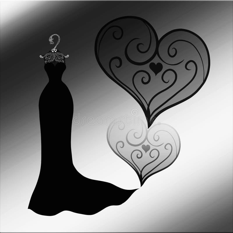 Vestido preto elegante em um gancho contra um coração modelado ilustração royalty free