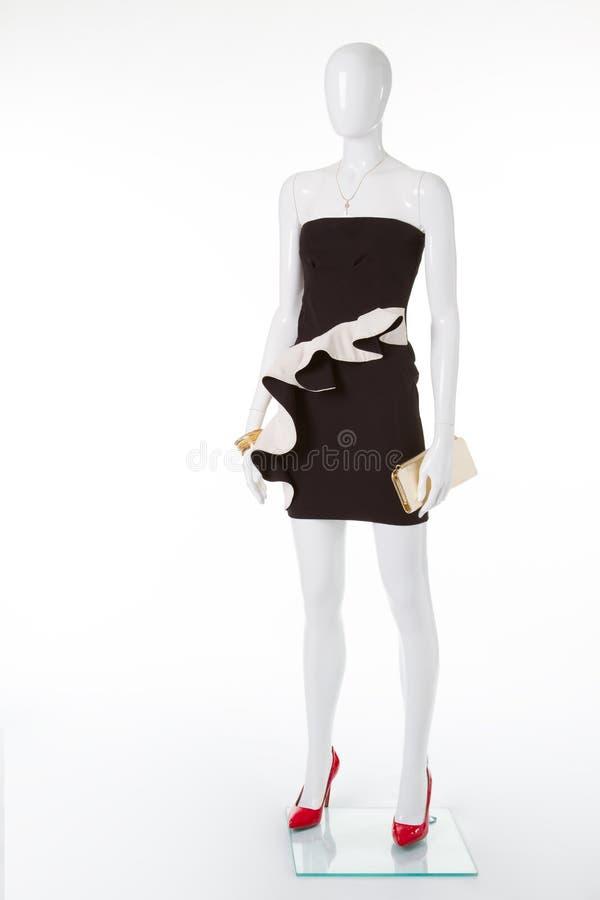 Vestido preto exclusivo com basque branco imagem de stock
