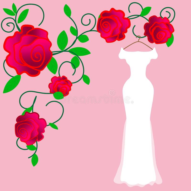 Vestido que se casa perfecto para la novia perfecta en su día perfecto ilustración del vector