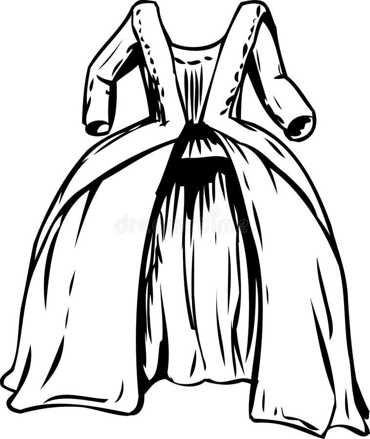 Vestido redondo del siglo XVIII de Outined stock de ilustración