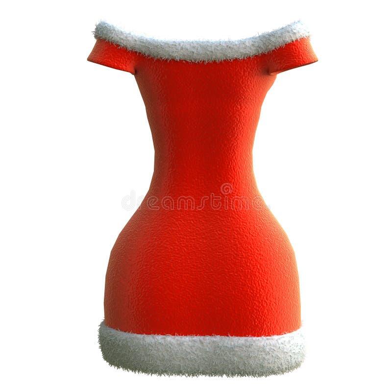 Vestido rojo para señora santa en un fondo blanco aislado, ejemplo 3d stock de ilustración