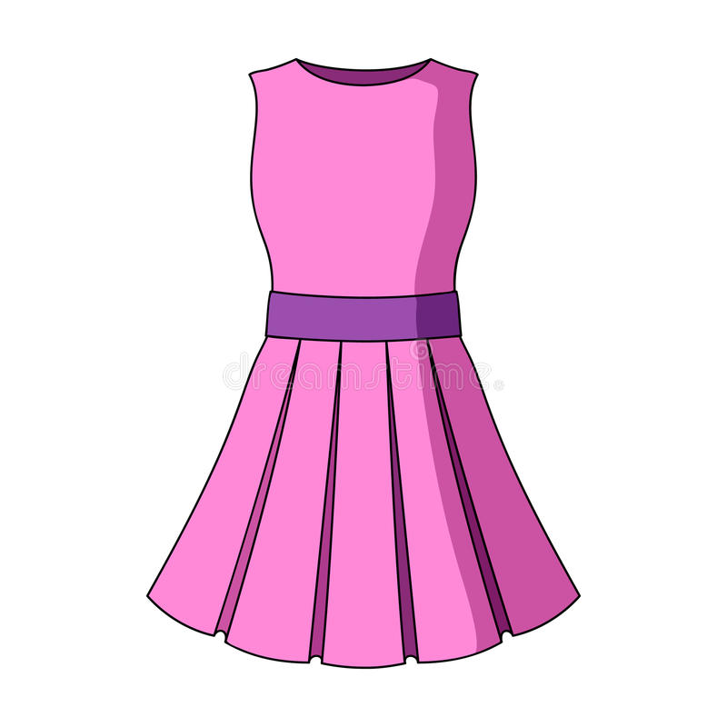 Vestido rosa claro hermoso del verano sin las mangas Ropa para un alza a la playa Icono de la ropa de las mujeres solo libre illustration
