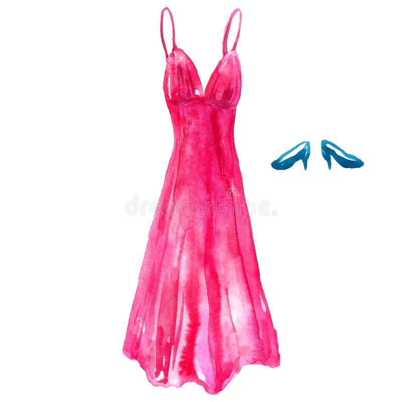 Vestido rosado de seda y zapatos azules Ejemplo dibujado mano de la acuarela Aislado en el fondo blanco ilustración del vector