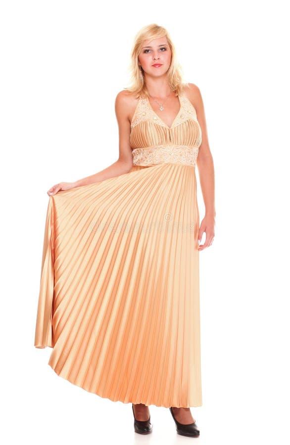 Vestido rubio del modelo de moda de la mujer aislado imagen de archivo libre de regalías