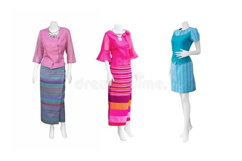 Vestido tailandês do estilo no fundo branco fotografia de stock royalty free