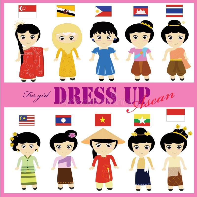 Vestido tradicional de la ANSA para la muchacha imagen de archivo libre de regalías