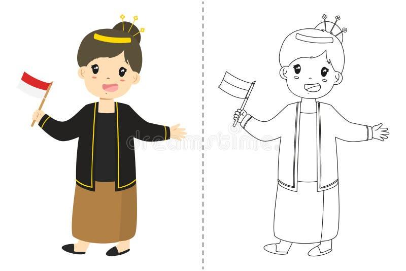 Vestido Tradicional Del Javanese De La Muchacha Que Lleva Indonesia ...