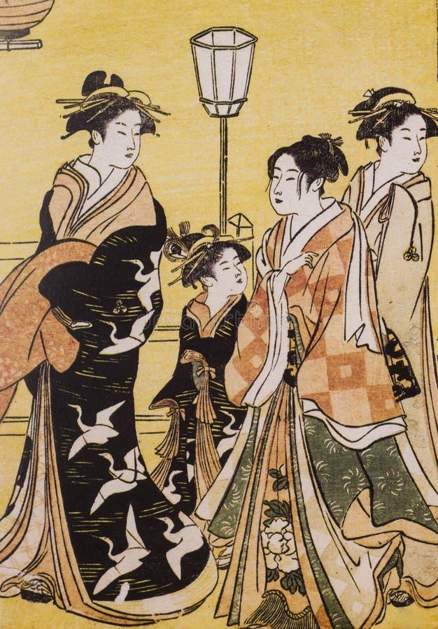 Vestido tradicional japonés antiguo fotos de archivo