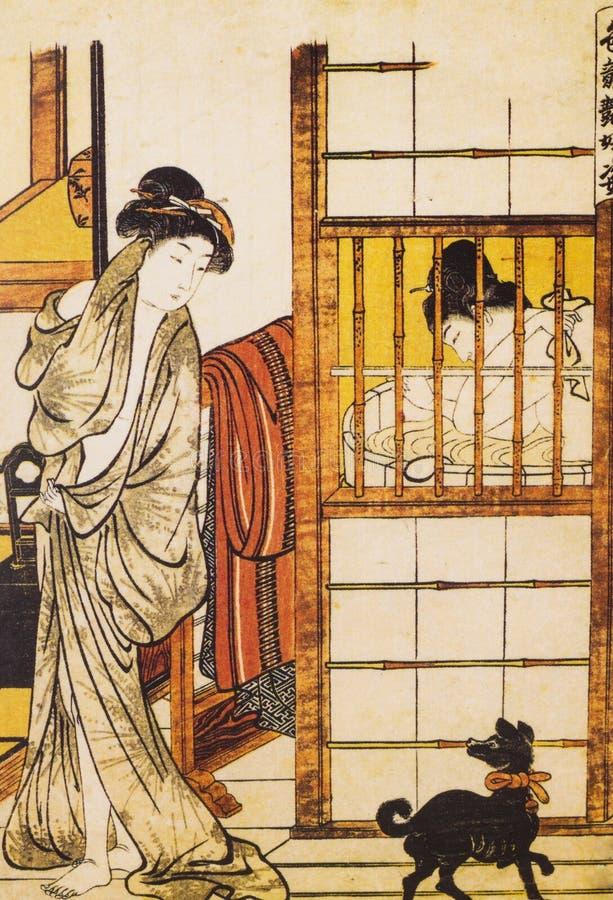 Vestido tradicional japonés antiguo imagenes de archivo