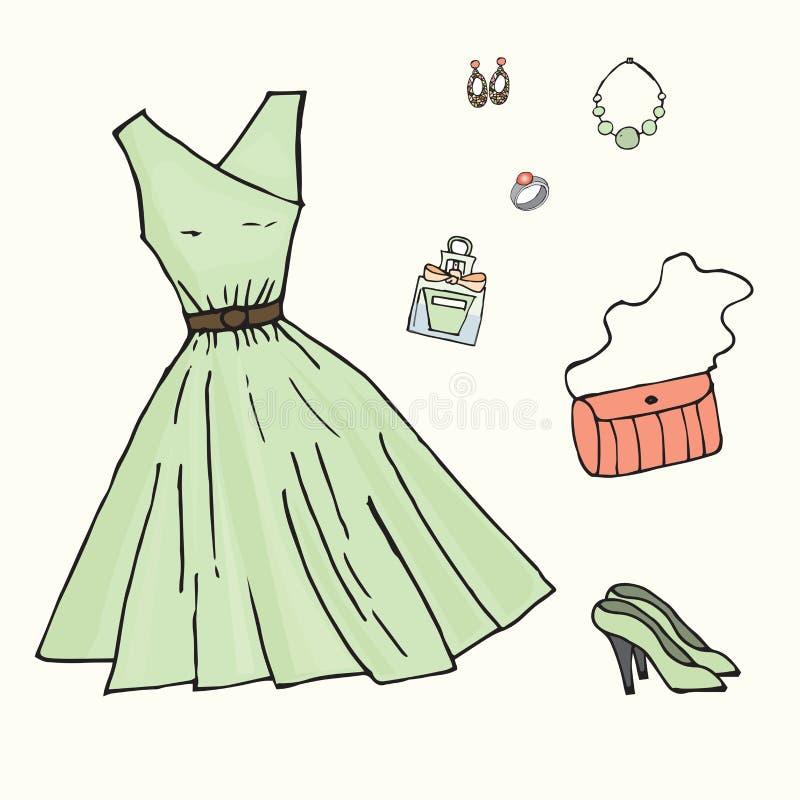 Vestido verde e vários acessórios a ele ilustração royalty free