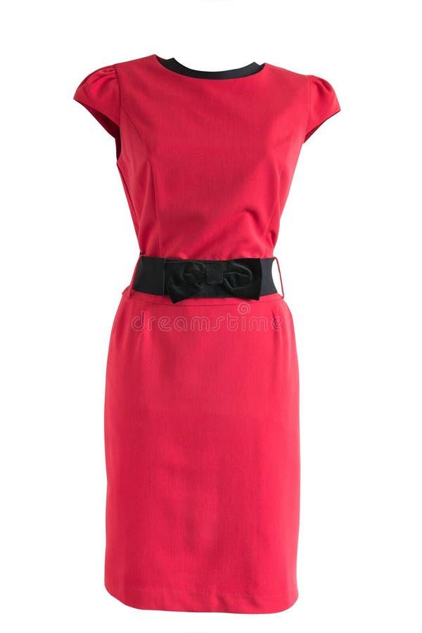 Vestido vermelho com cinturão negro em um manequim fotos de stock royalty free