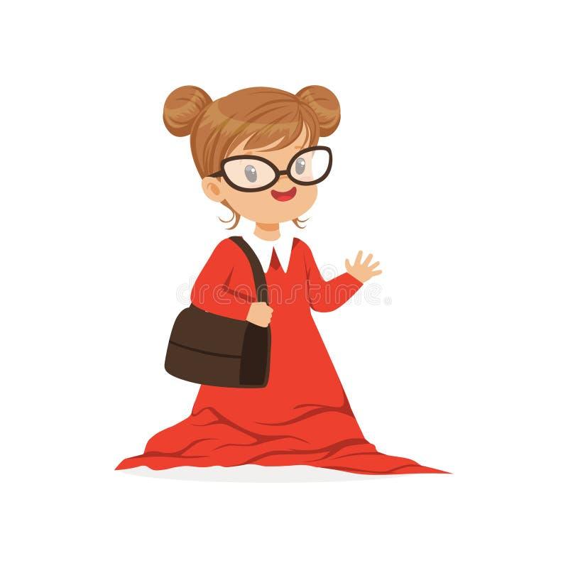 Vestido vermelho desproporcionado vestindo do dult da menina bonita, criança ilustração royalty free