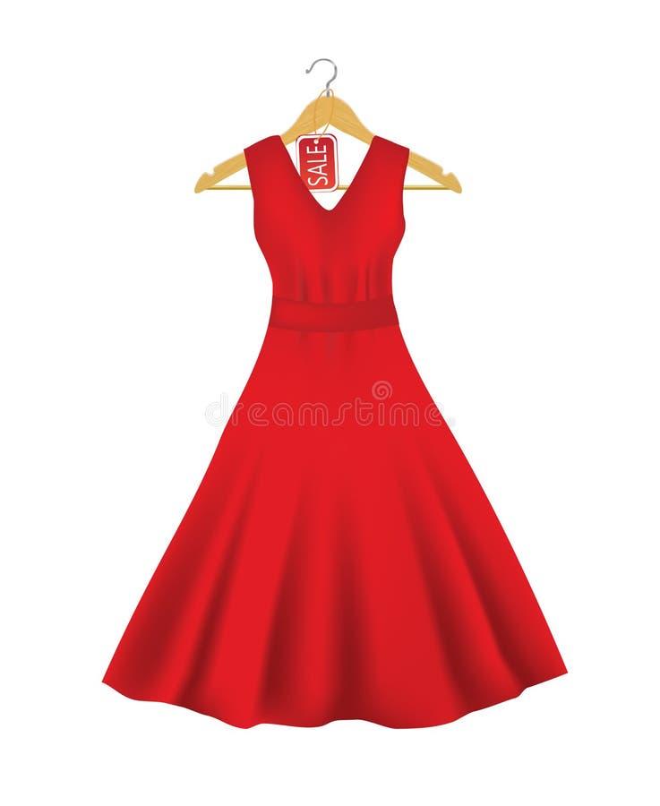 Vestido vermelho em um gancho com etiqueta da venda ilustração stock