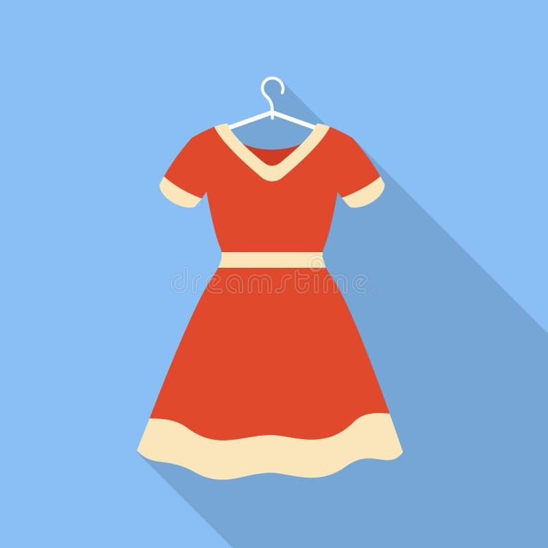 Vestido vermelho no ícone do gancho, estilo liso ilustração stock