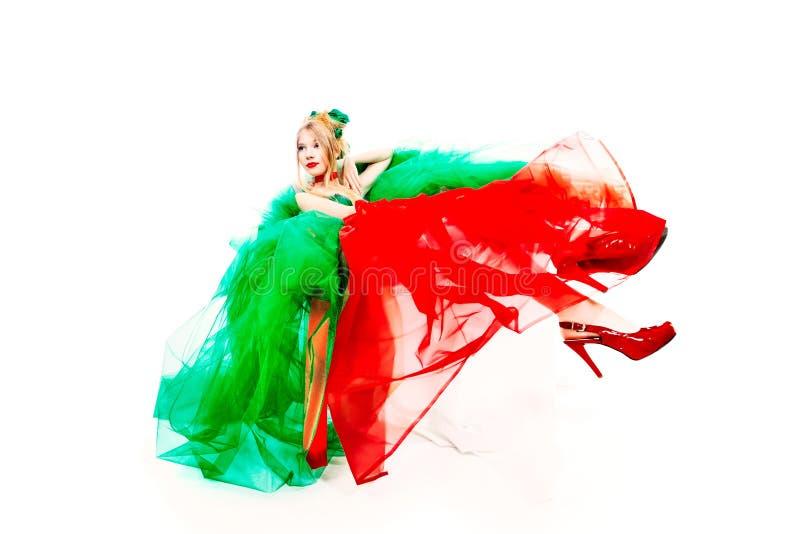 Vestido vermelho verde fotografia de stock royalty free