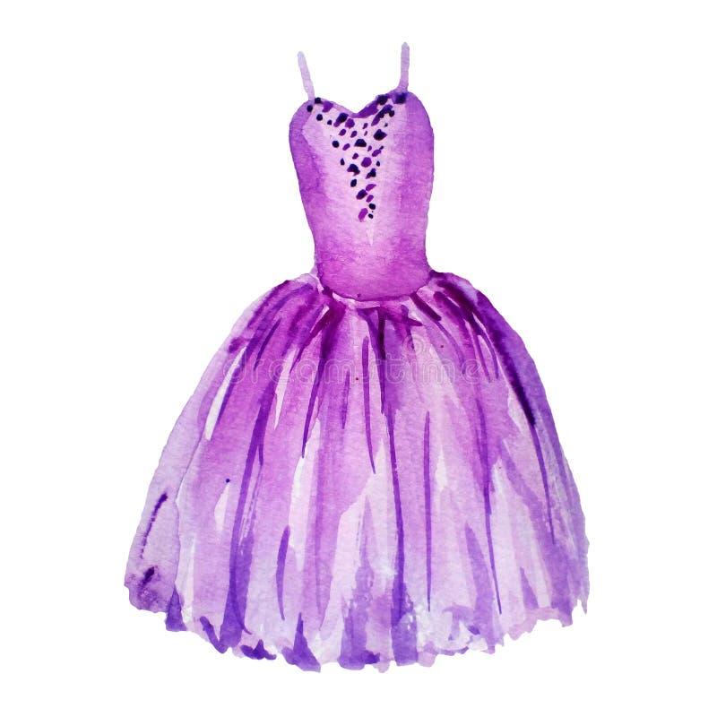 Vestido violeta del ballet Ejemplo de la acuarela aislado en el fondo blanco tutu ilustración del vector