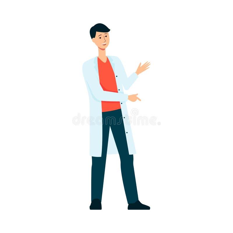 Vestido weared doctor de sexo masculino en vector del foro del hospital o de la medicina aislado en blanco ilustración del vector