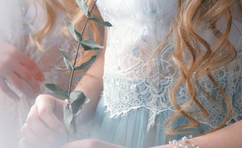 Vestido y flor del cordón del primer en la mano del ` s de las mujeres Dos muchachas Cuerpo del primer imagenes de archivo