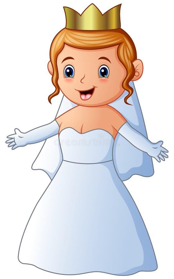 Vestido y velo de boda de la novia que llevan joven feliz ilustración del vector