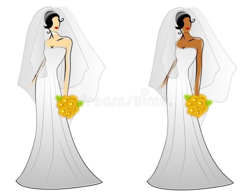 Vestidos de boda de la novia de la manera stock de ilustración