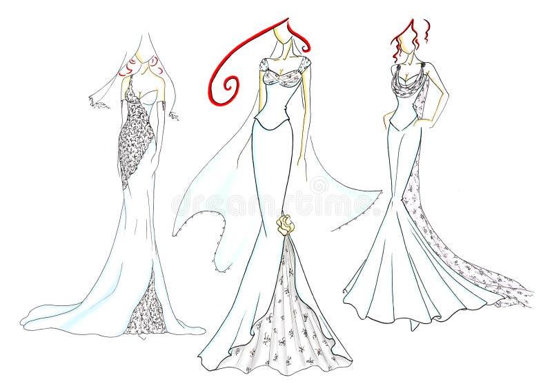 Vestidos de casamento ilustração do vetor