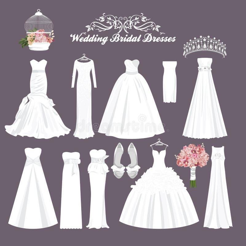 Vestidos de casamento do vetor em estilos diferentes Vestido da noiva da forma ilustração royalty free
