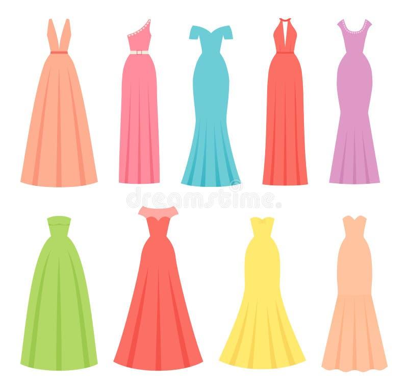 Vestidos de nivelamento para mulheres Ilustração do vetor Matéria têxtil fêmea, projeto liso ilustração royalty free
