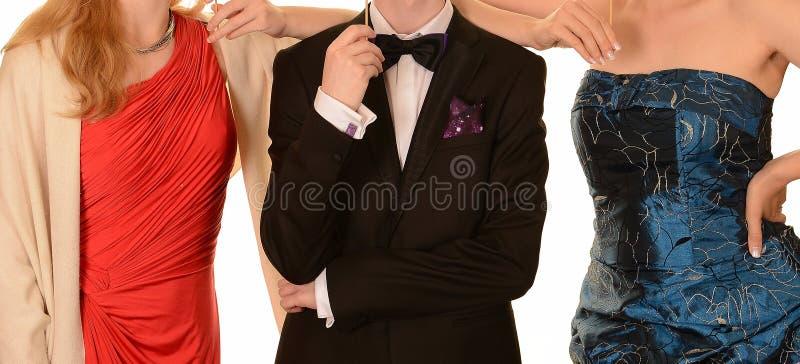 Vestidos del baile de fin de curso y traje formal negro fotos de archivo libres de regalías