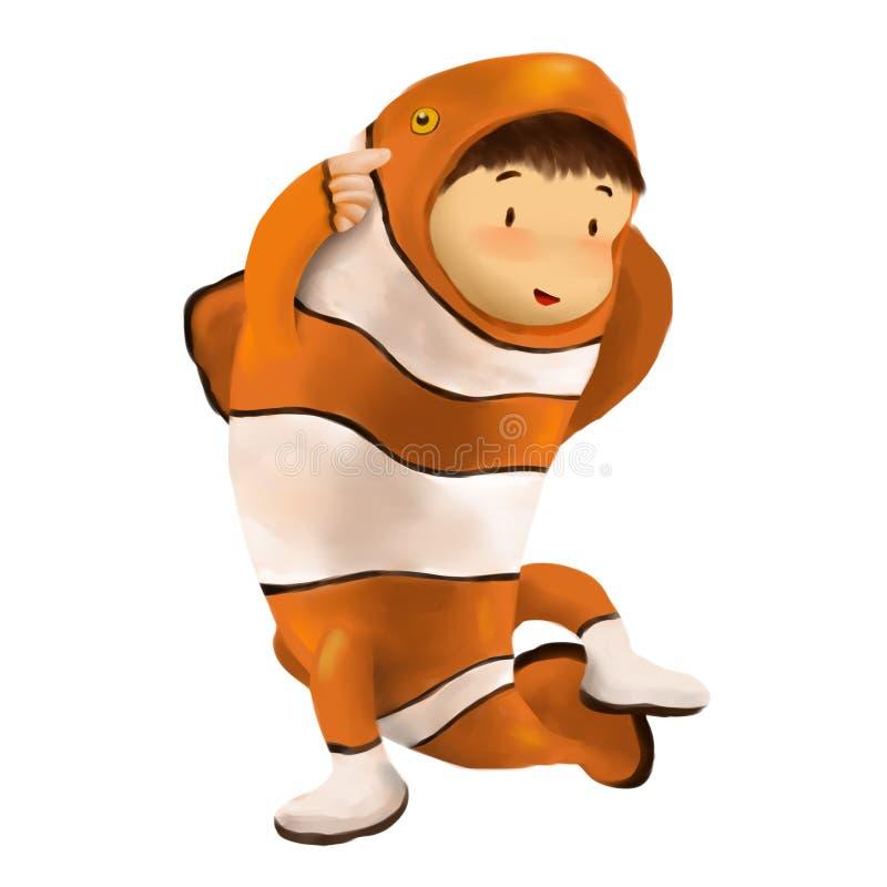 Vestidos del niño en traje de los pescados del payaso stock de ilustración