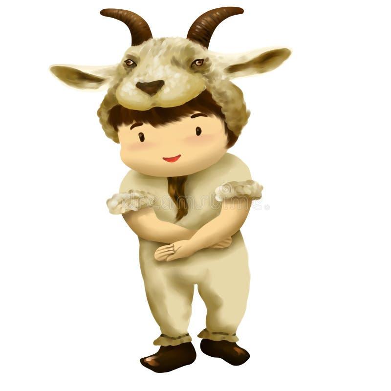 Vestidos do menino no traje da cabra ilustração stock