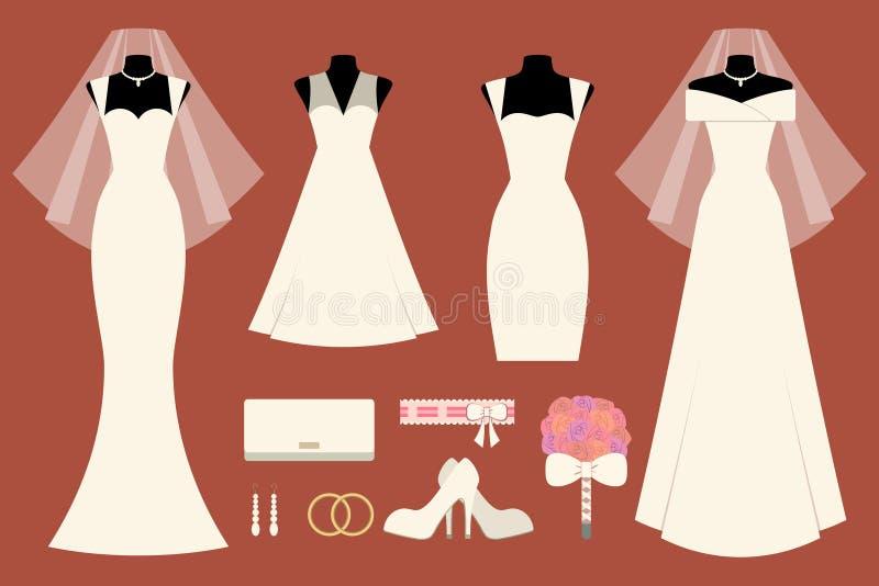 Vestidos e acessórios de casamento ilustração stock