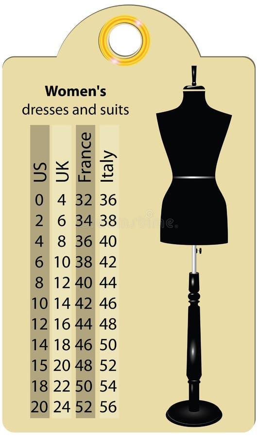 Vestidos e ternos das mulheres dos tamanhos ilustração royalty free