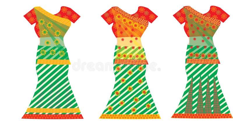 Vestidos indianos, ilustração ilustração do vetor