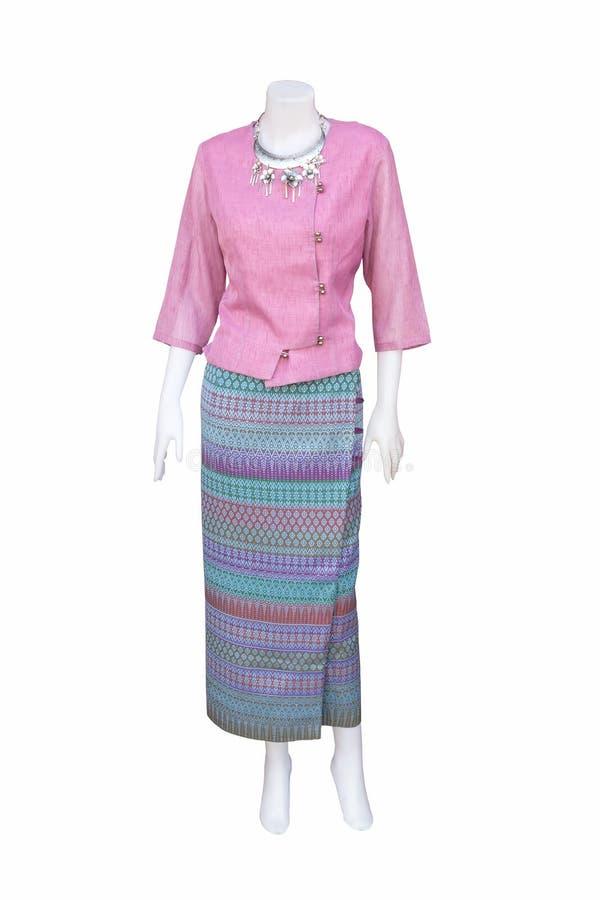 Vestidos tailandeses bonitos em manequins foto de stock