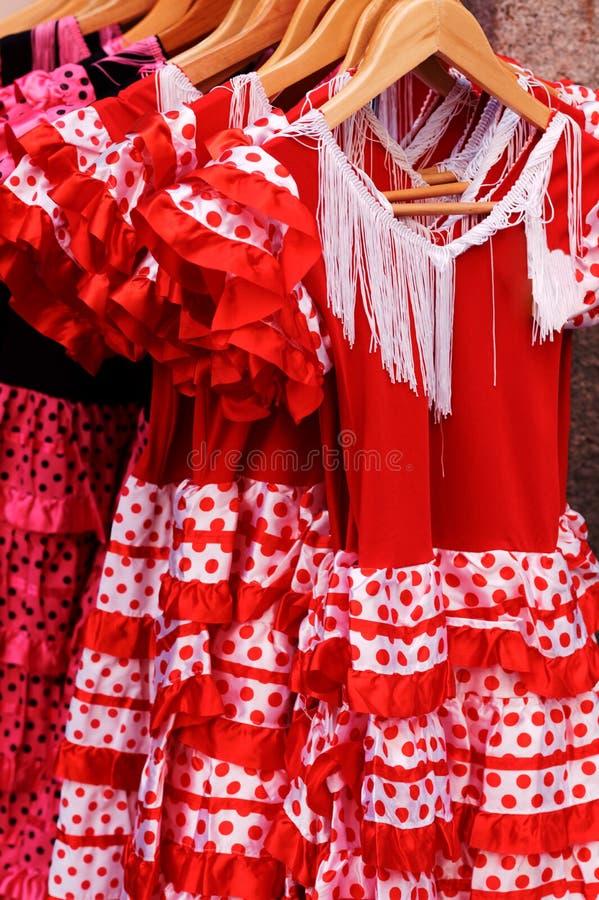 Vestidos vermelhos do flamenco foto de stock