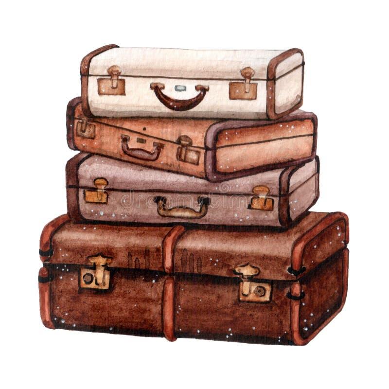 Vestiges de voyage couleur marron pour les aventures illustration stock