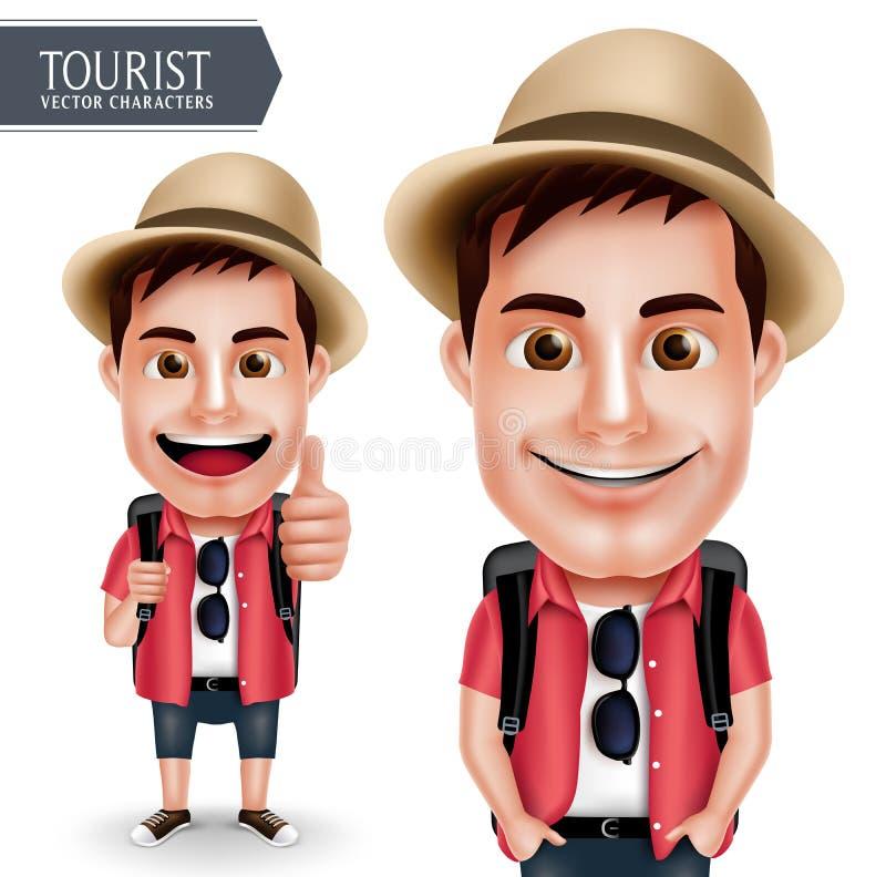 Vestir do caráter do vetor do homem do viajante do turista ocasional com a trouxa para o curso e caminhada ilustração do vetor