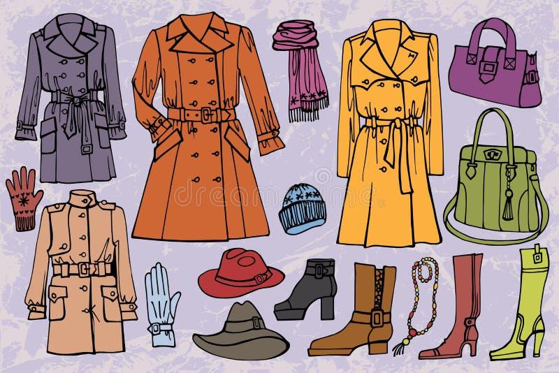 Vestiti alla moda messi Autunno, inverno, molla illustrazione vettoriale