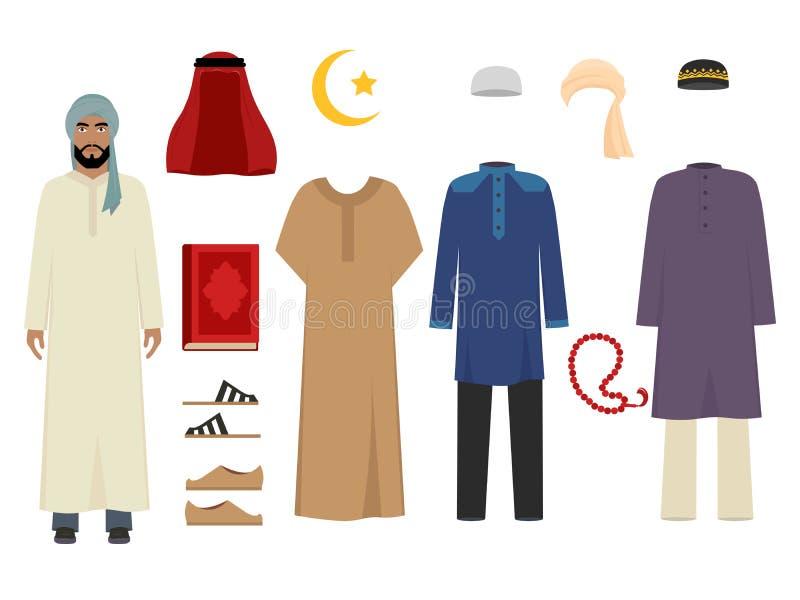 Vestiti arabi dell'uomo Modo islamico nazionale di elementi maschii iraniano musulmano e vettore turco del guardaroba dei costumi illustrazione vettoriale