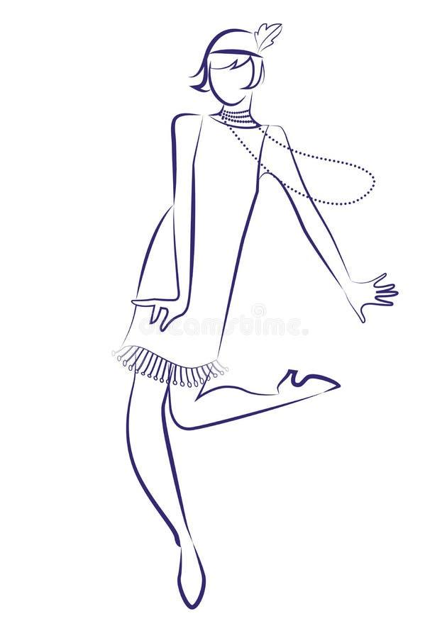 Vestiti d'uso degli anni 20 della ragazza della falda e ballare lungo delle collane illustrazione vettoriale