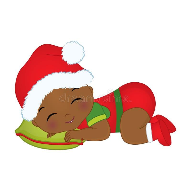 Vestiti d'uso di Natale del neonato afroamericano sveglio di vettore royalty illustrazione gratis