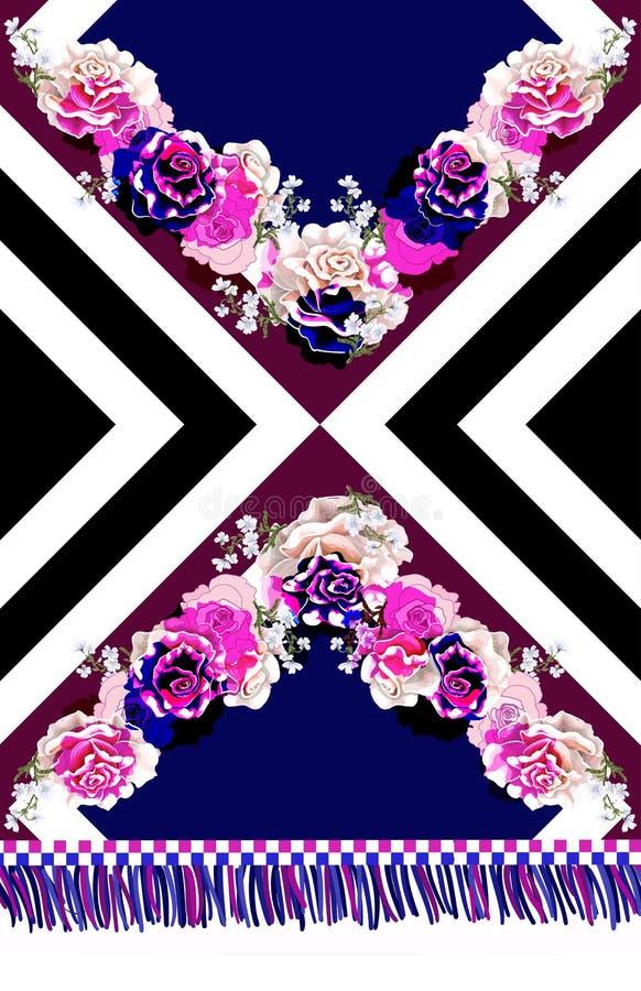 Vestiti da progettazione con le rose e gli ornamenti geometrici Illustrazione di vettore illustrazione vettoriale