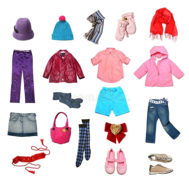 Vestiti dei bambini impostati immagini stock