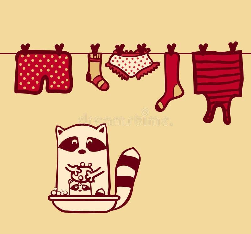 Vestiti del lavaggio del procione e bambino del lavaggio illustrazione vettoriale