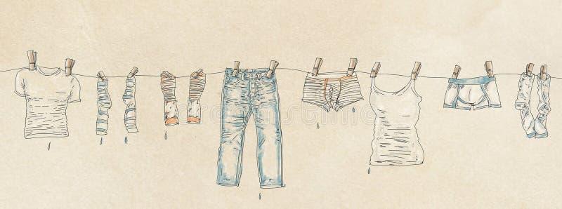 Vestiti dell'insegna che appendono da lui illustrazione di stock